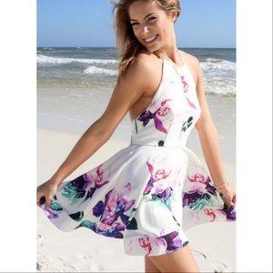 Halter Belted Floral Open Back Mini Dress